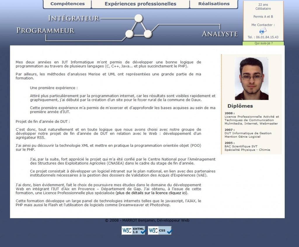 Portfolio V1, Site CV