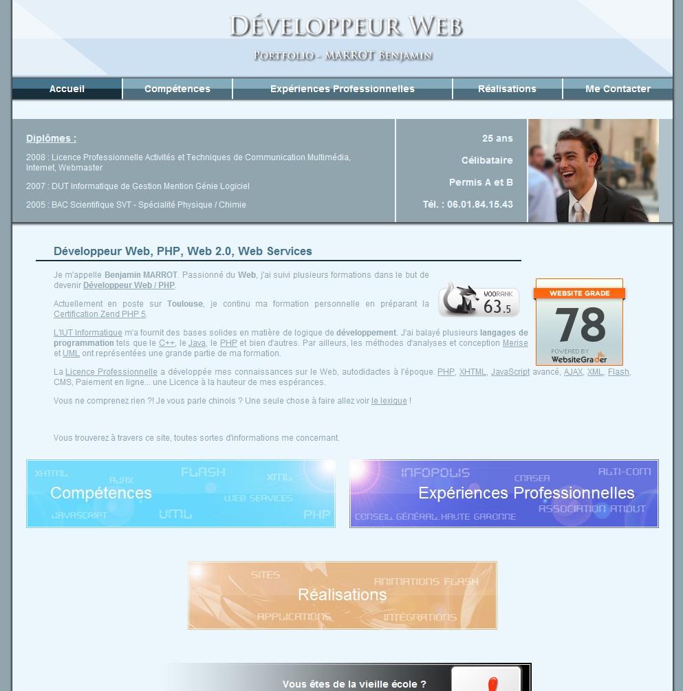 Portfolio V2, Site CV